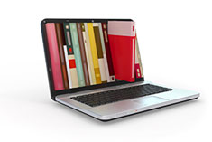 Laptop with picture of books