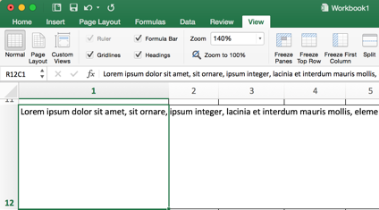 Excel - before wrapping text