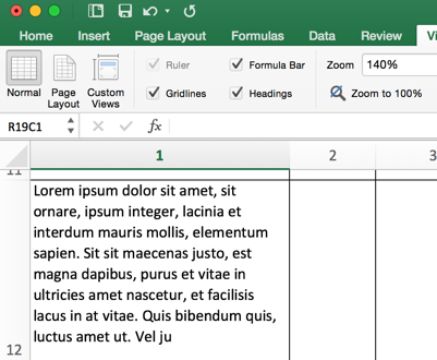 Excel - after wrapping text
